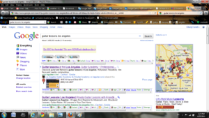 """Screenshot of search results for """"guitar lessons los angeles"""""""